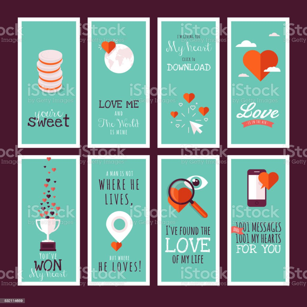 Flat design Valentines day greeting cards vector art illustration
