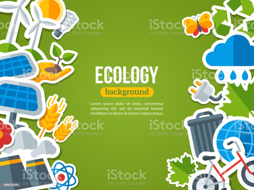 Flat Design Vector Concept for Ecology vector art illustration
