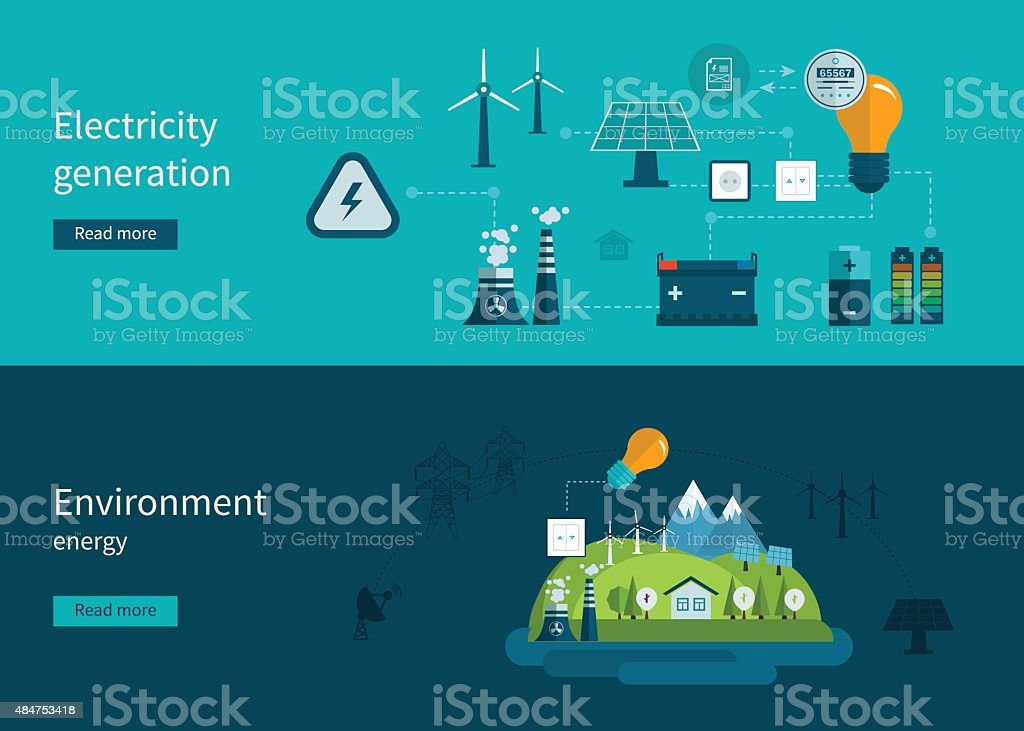 Flat design vector concept illustration with icons of ecology, environment vector art illustration