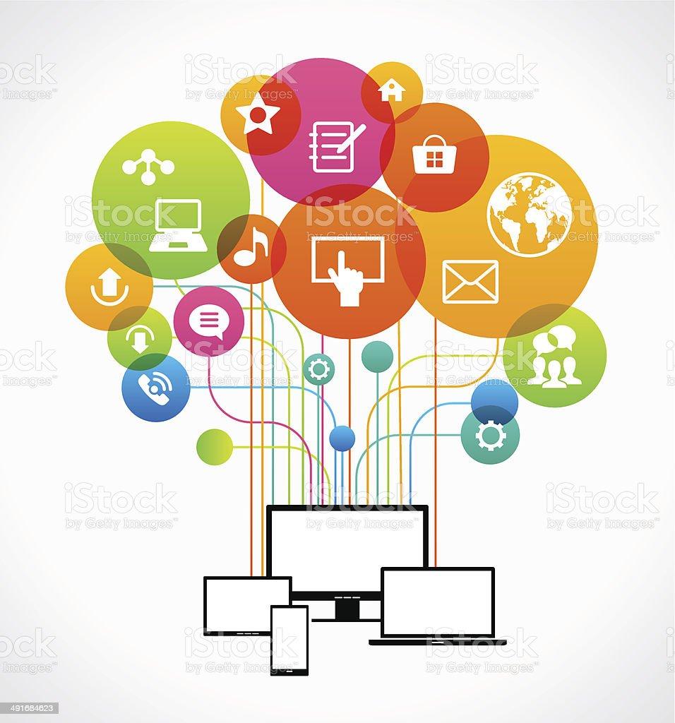 Flat design vector concept network communication vector art illustration