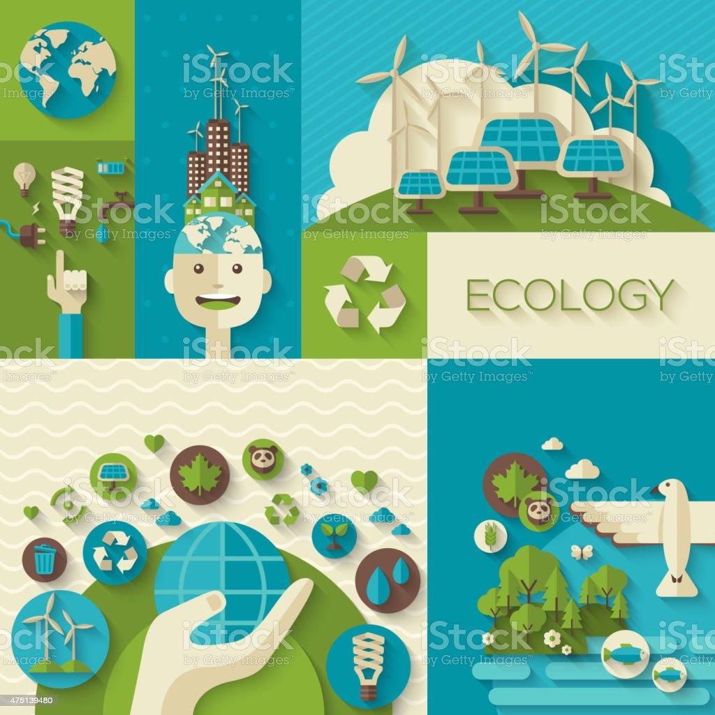Flat design vector concept of ecology, environment, green energy vector art illustration