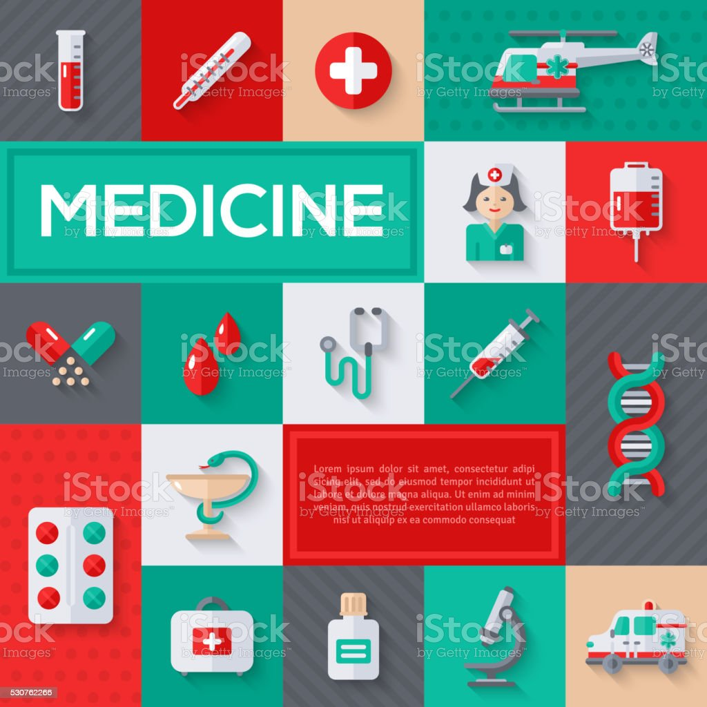 Flat design vector concept with medical icons vector art illustration