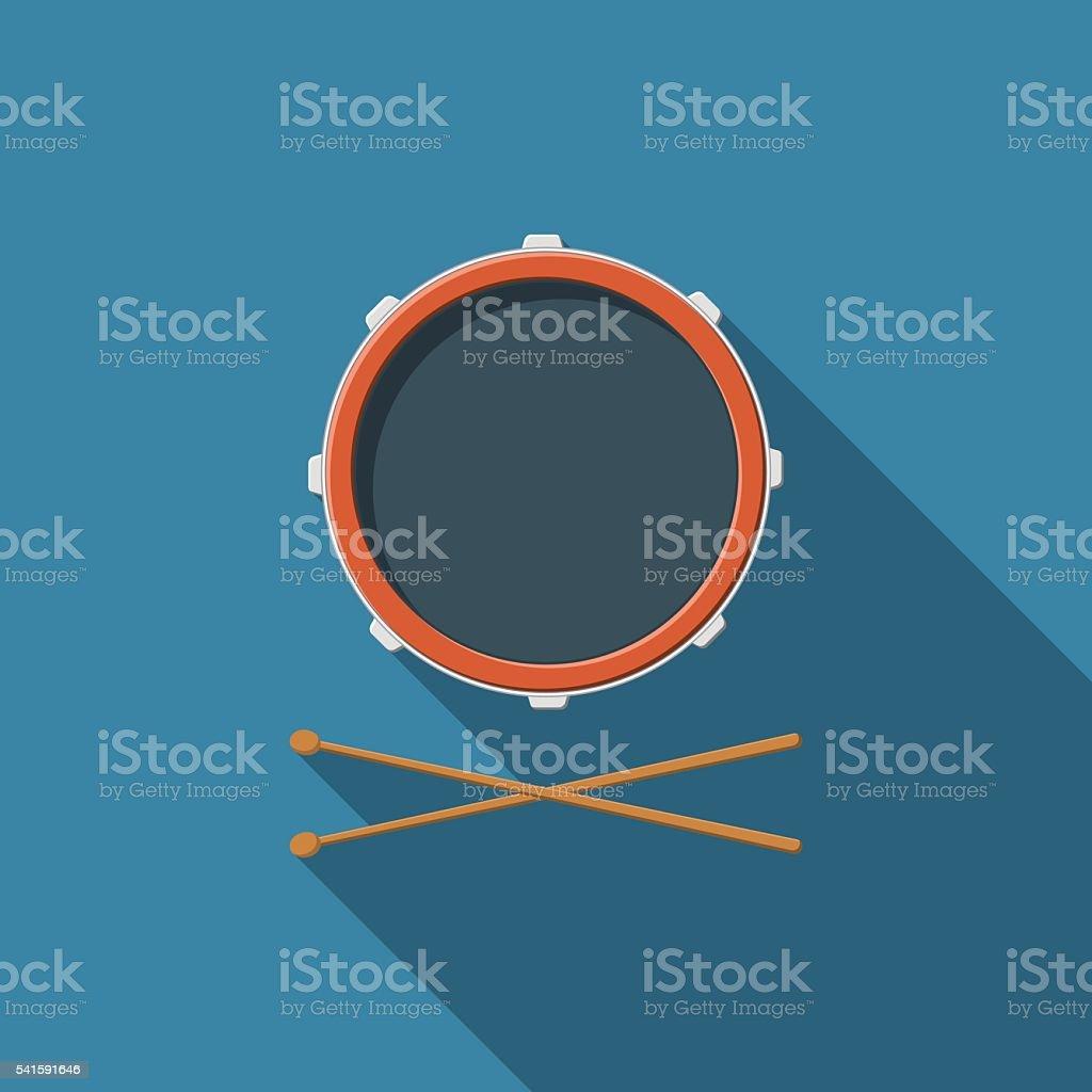 Flat design vector drum and drum sticks icon vector art illustration