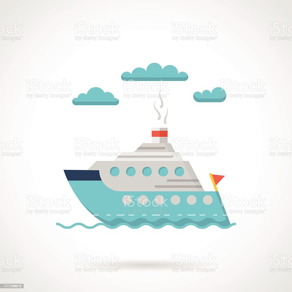 Flat design vector icon for steamer vector art illustration