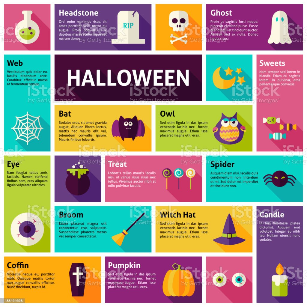 Flat Design Vector Icons Infographic Halloween Holiday Concept vector art illustration
