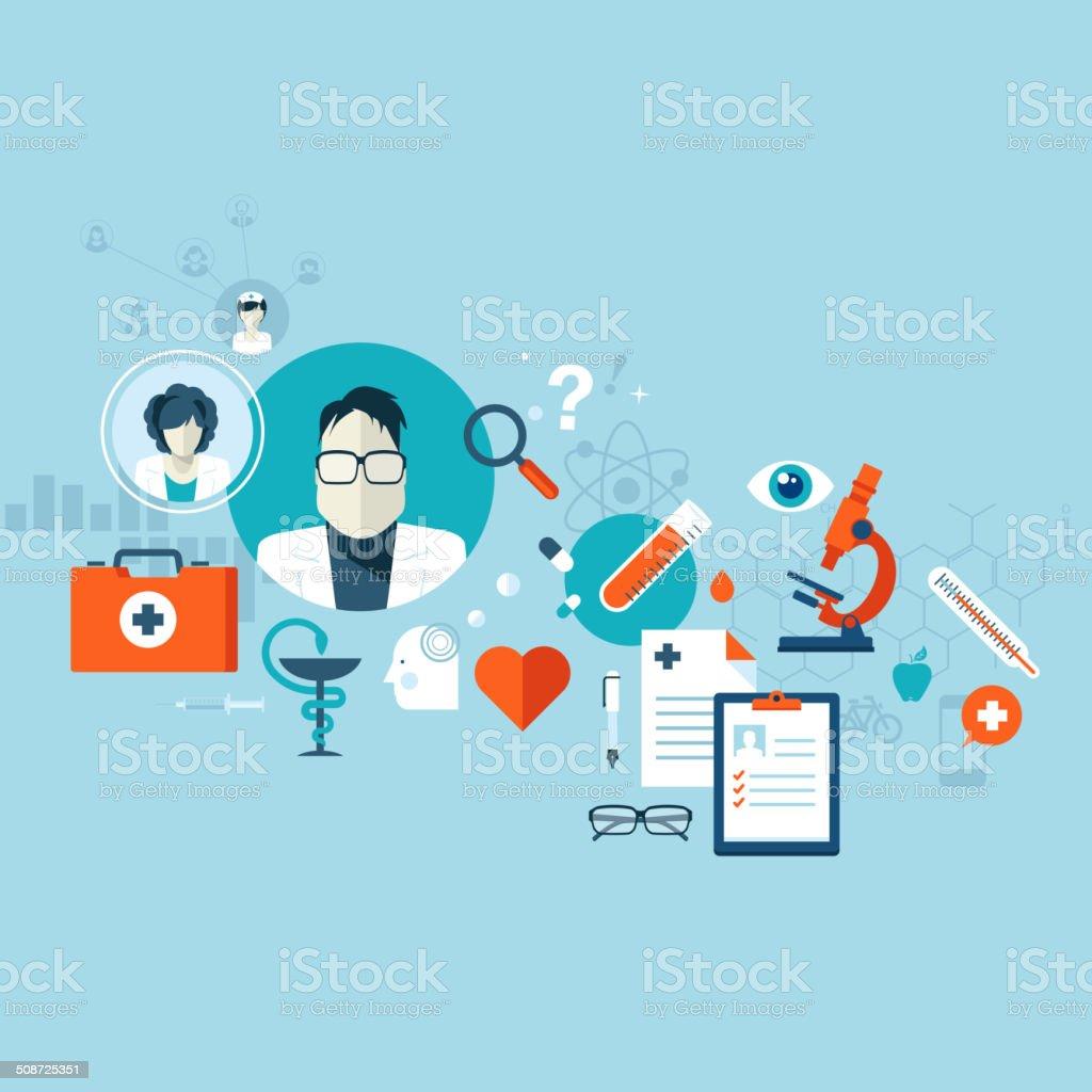 Diseño plano ilustración vectorial concepto para servicios médicos illustracion libre de derechos libre de derechos
