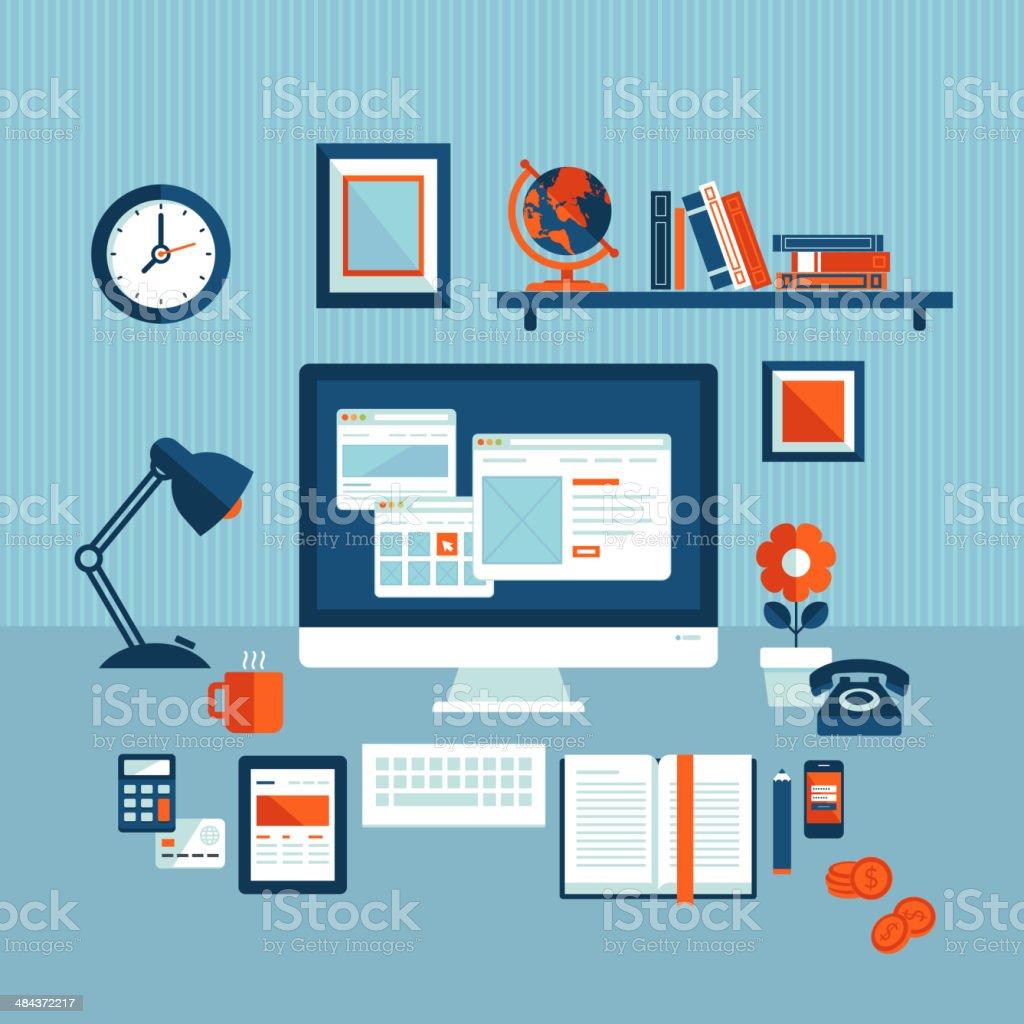 Diseño plano ilustración vectorial concepto de moderno espacio de trabajo de negocios illustracion libre de derechos libre de derechos