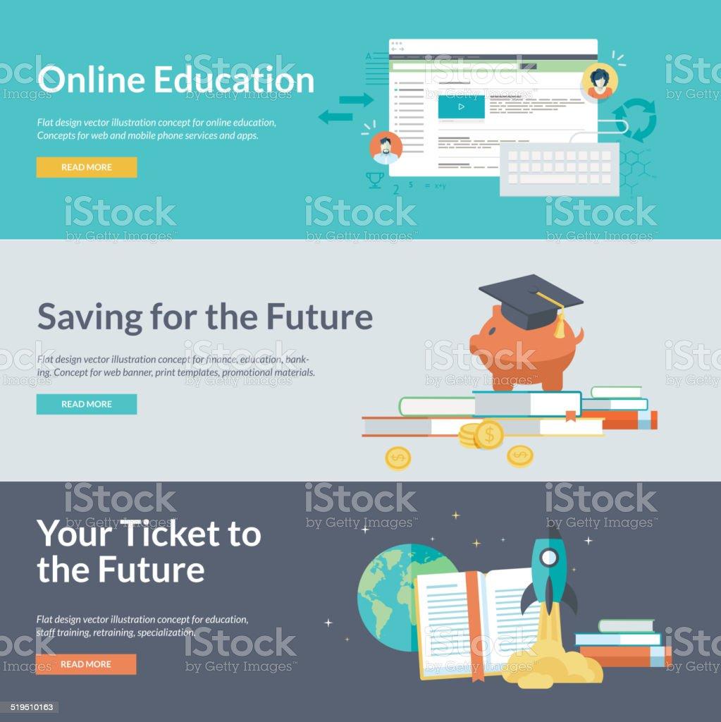 Flat design vector illustration concepts for online education vector art illustration