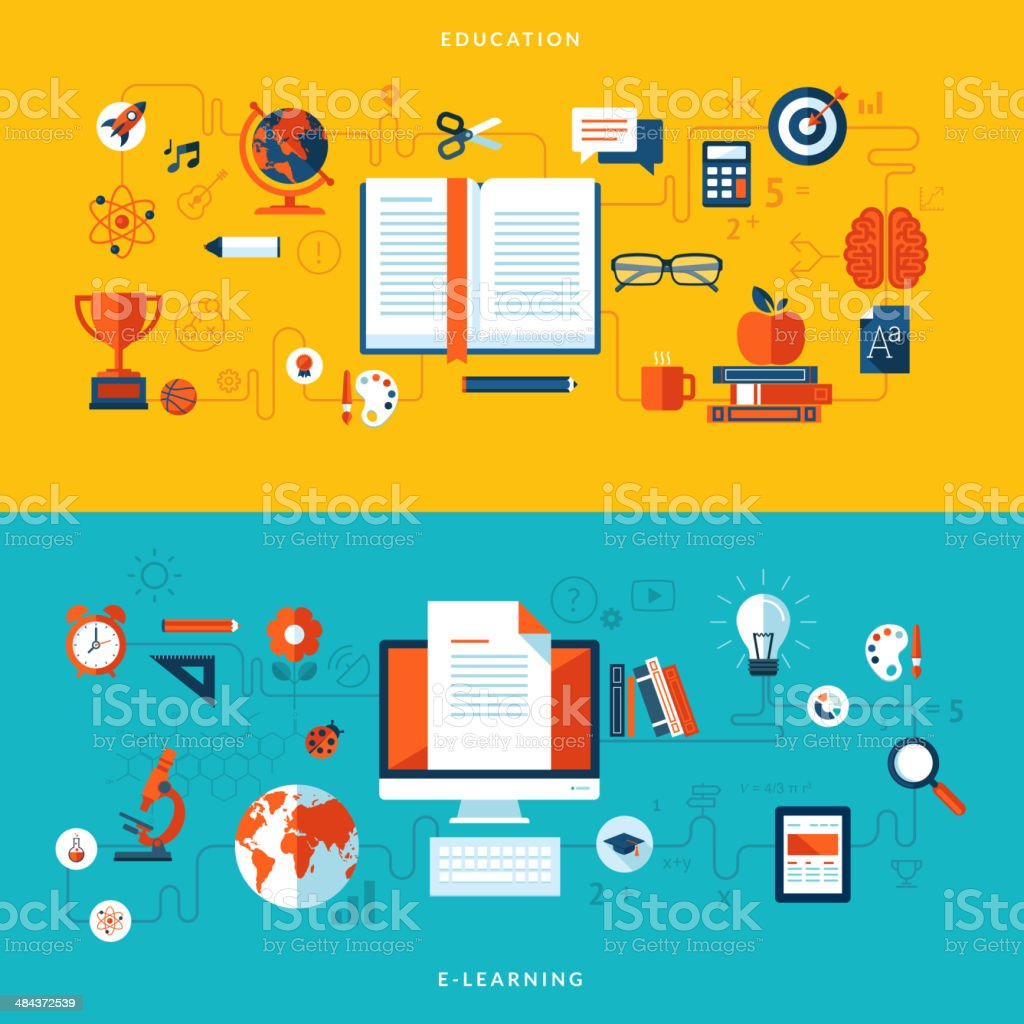 Ilustración vectorial de diseño plano de conceptos de la Educación y aprendizaje electrónico illustracion libre de derechos libre de derechos