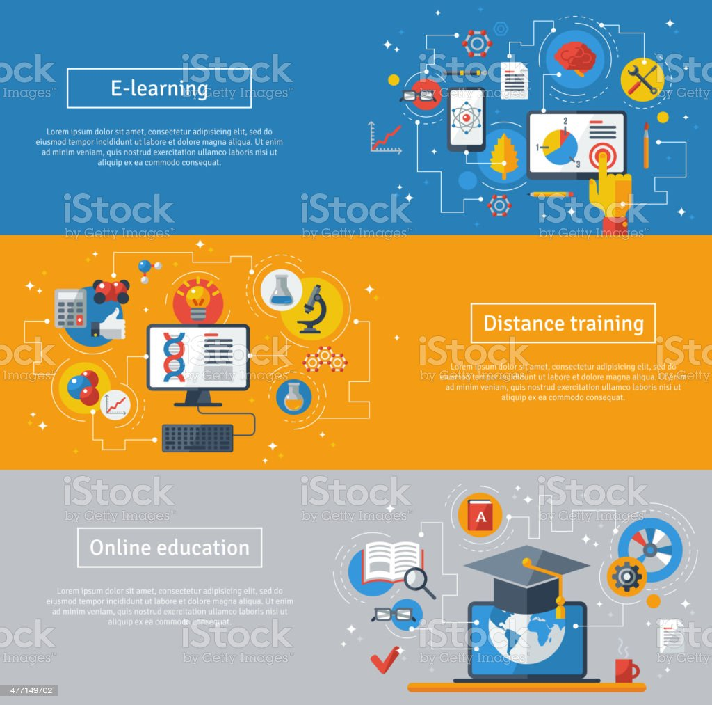 Flat design vector illustration concepts of education and online learning. vector art illustration