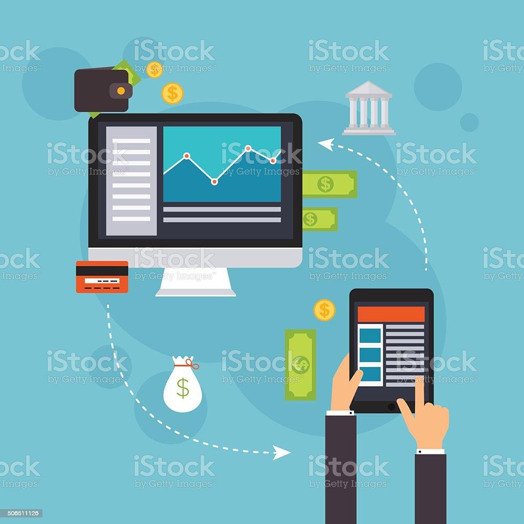 Flat design vector illustration concepts of online payment metho vector art illustration