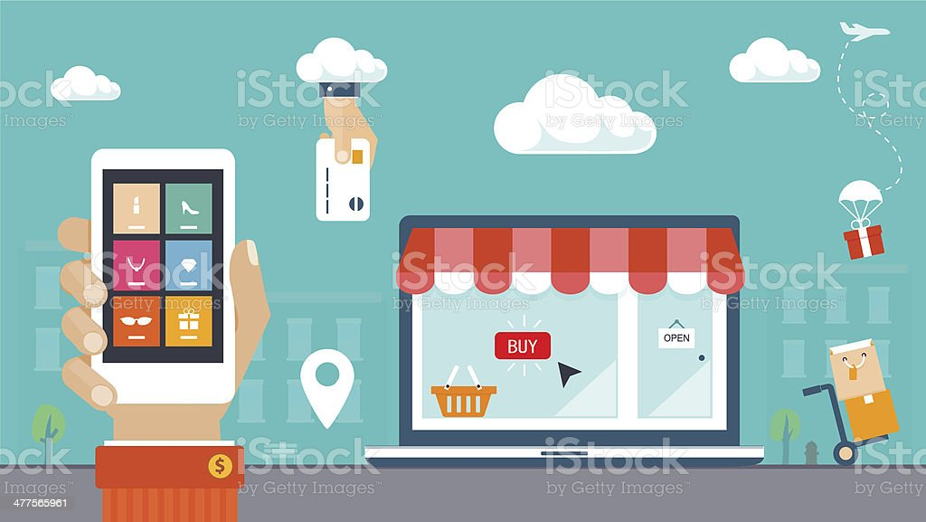 Flat design vector illustration. E-commerce, shopping & delivery vector art illustration