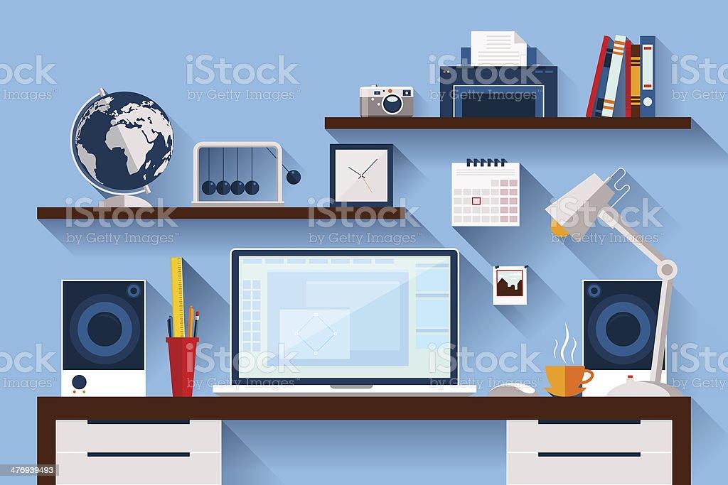 Flat design vector illustration of modern creative office workspace vector art illustration