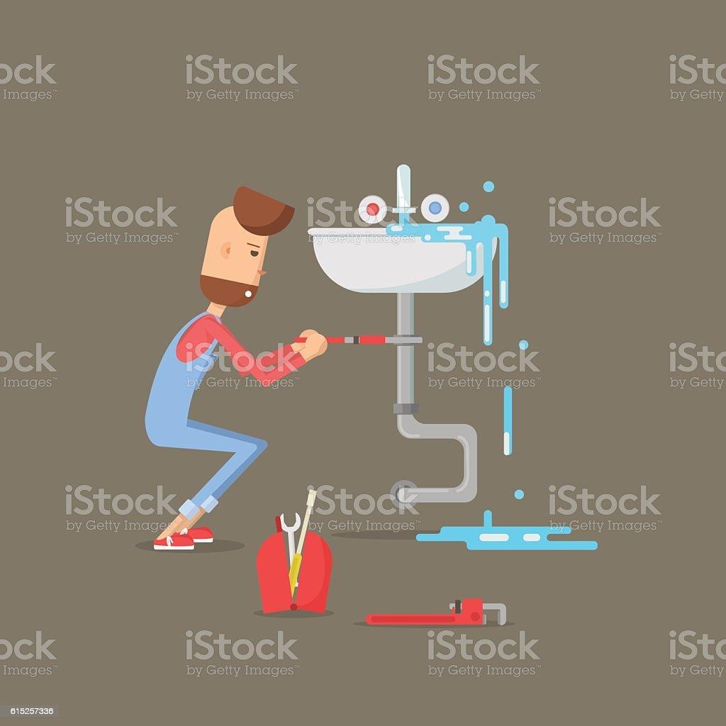 Flat design vector illustration of plumber working in bathroom. vector art illustration