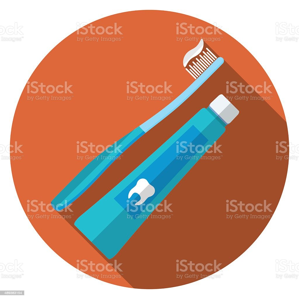 Flat design vector illustration of tooth brush and paste icon vector art illustration