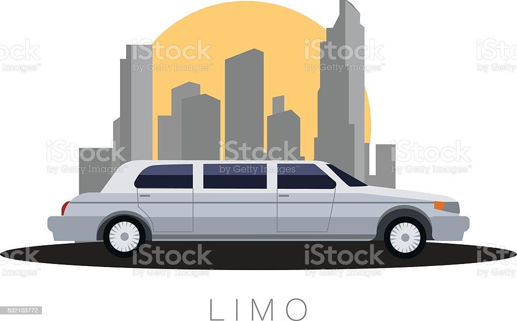 Flat design vector illustration  Transportation, limousine on sity background, side vector art illustration