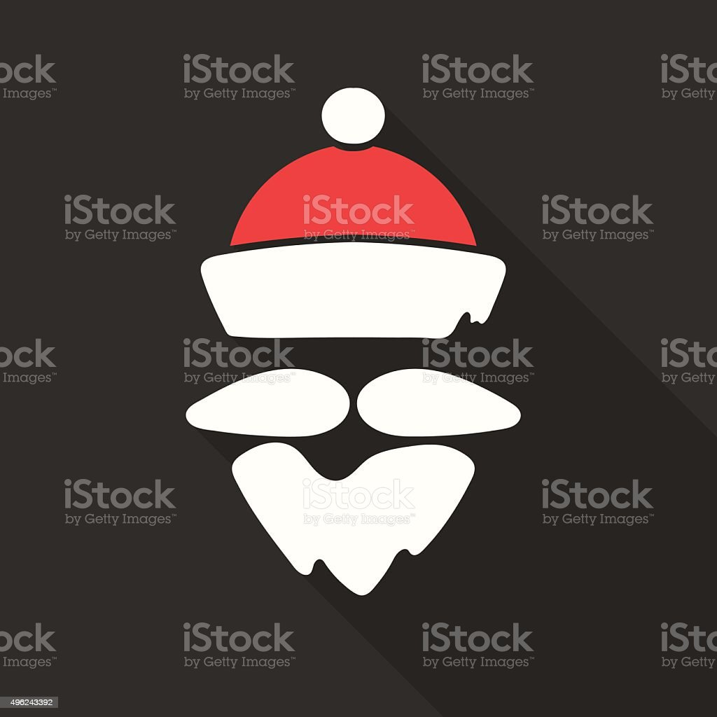 Flat Design Vector Santa Claus Face with beard and hat vector art illustration