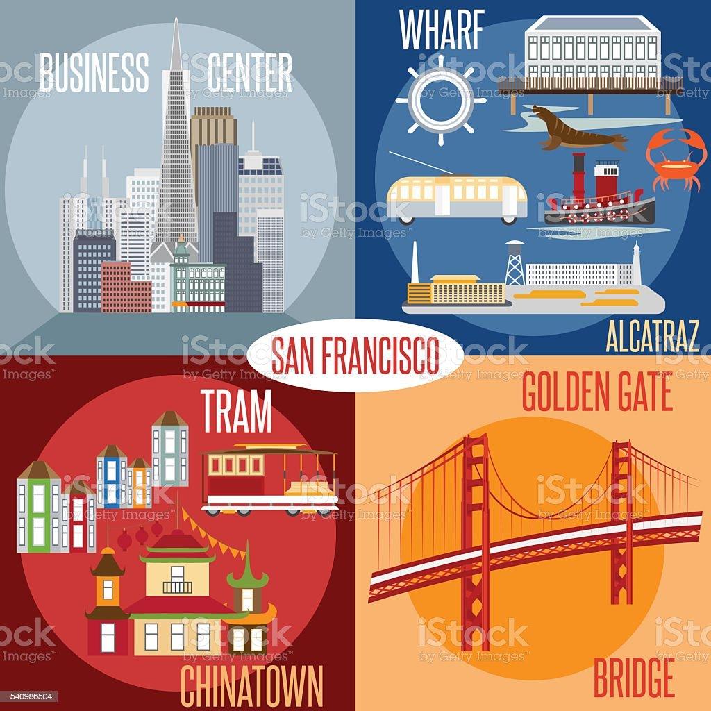 Flat design vectors of landmarks of San Francisco California,USA vector art illustration