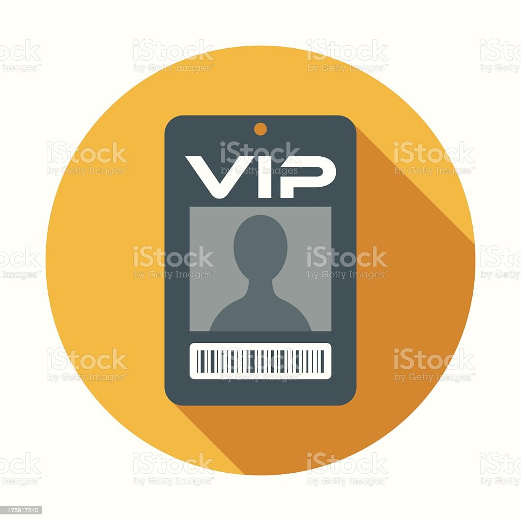 Flat Design VIP Badge Icon With Long Shadow vector art illustration