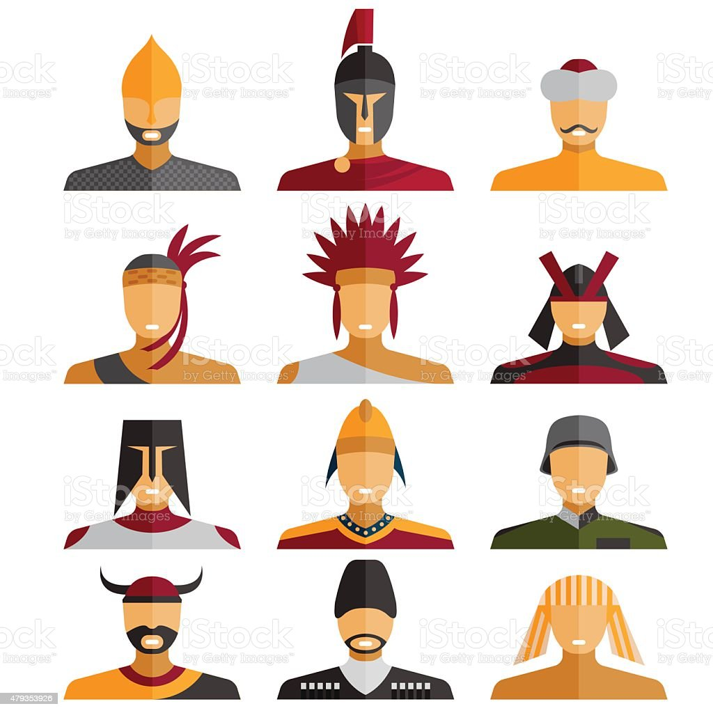 flat design warriors of different epochs and countries vector art illustration