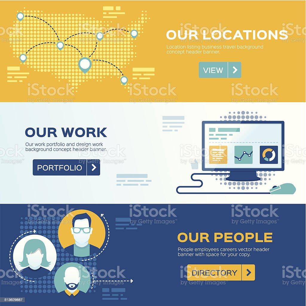 Flat Design Web Headers vector art illustration