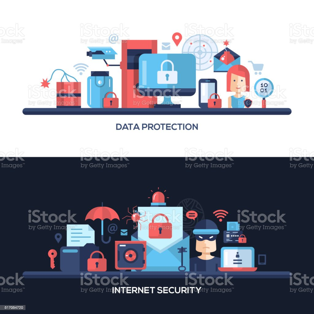 Flat design website data security headers banners set vector art illustration