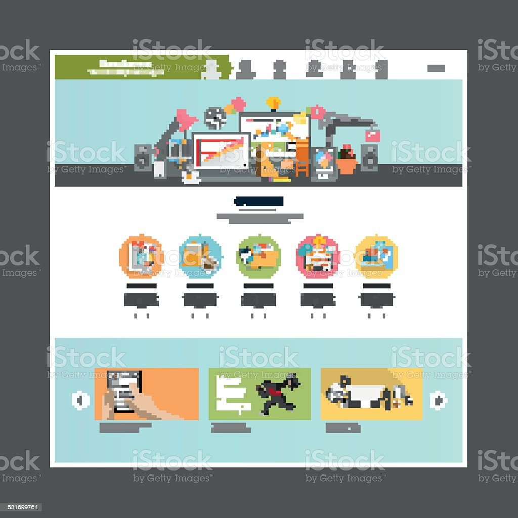 Flat Design Website Template Vector vector art illustration