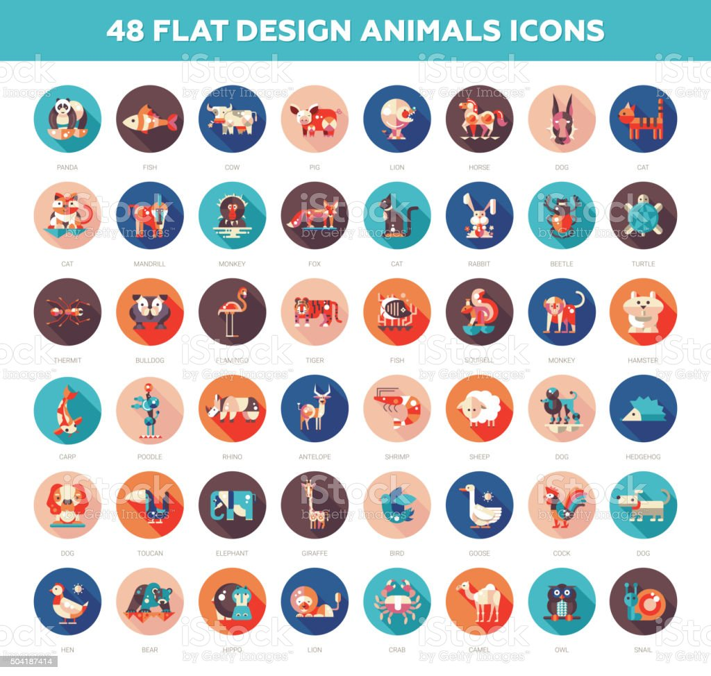 Flat design wild and domestic animals icons set vector art illustration