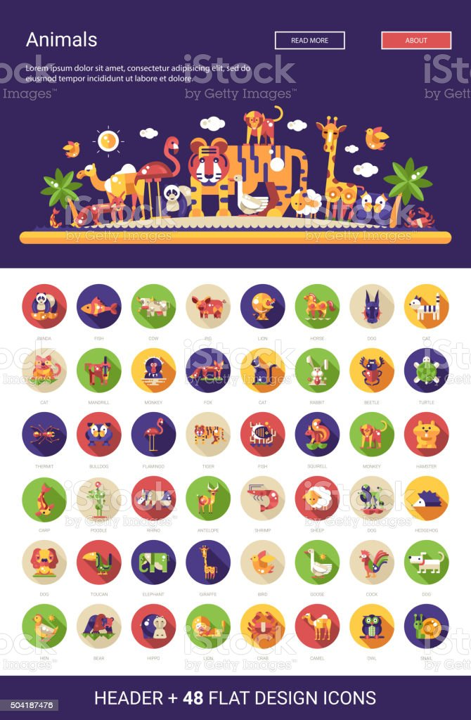 Flat design wild and domestic animals icons set with header vector art illustration