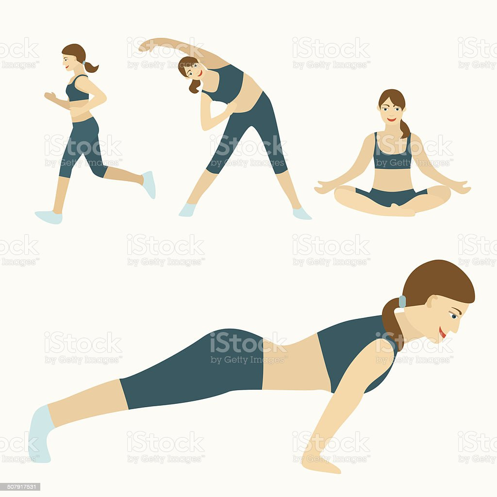 flat design workout vector art illustration