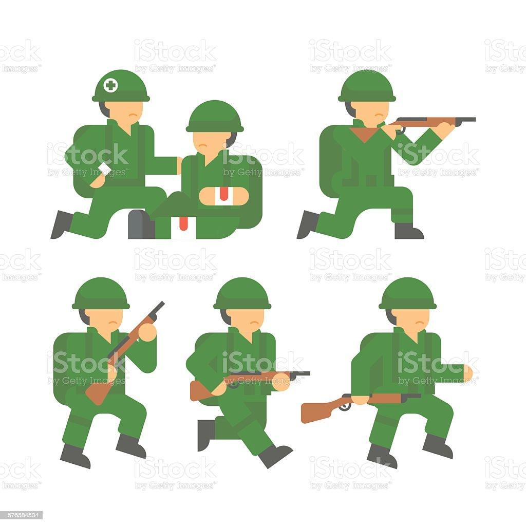 Flat design world war 2 soldier vector art illustration