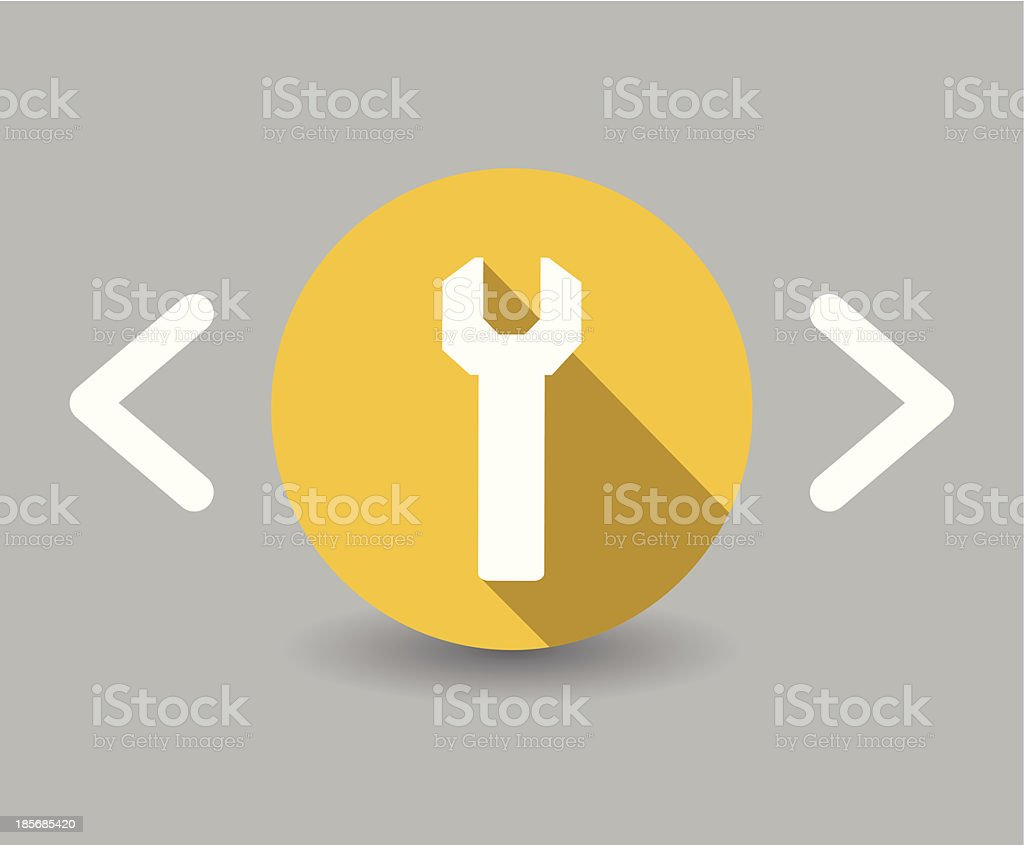 flat design wrench icon royalty-free stock vector art