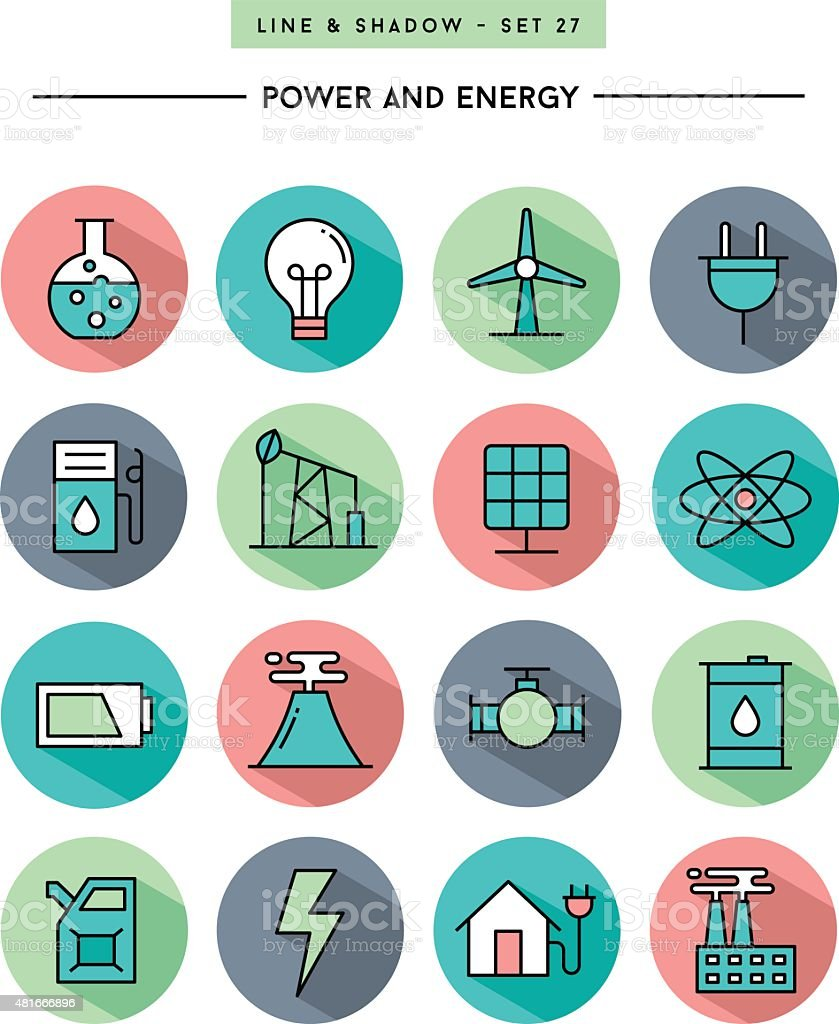 flat design,long shadow, thin line power and energy icons vector art illustration