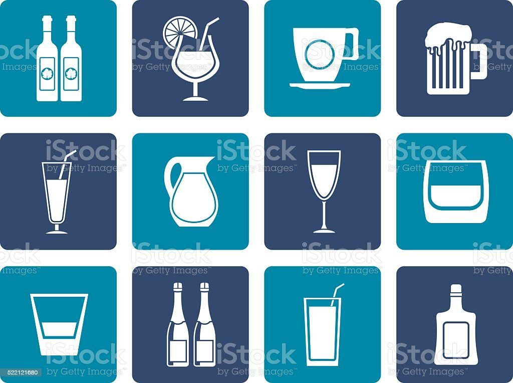 Flat different kind of drink icons vector art illustration