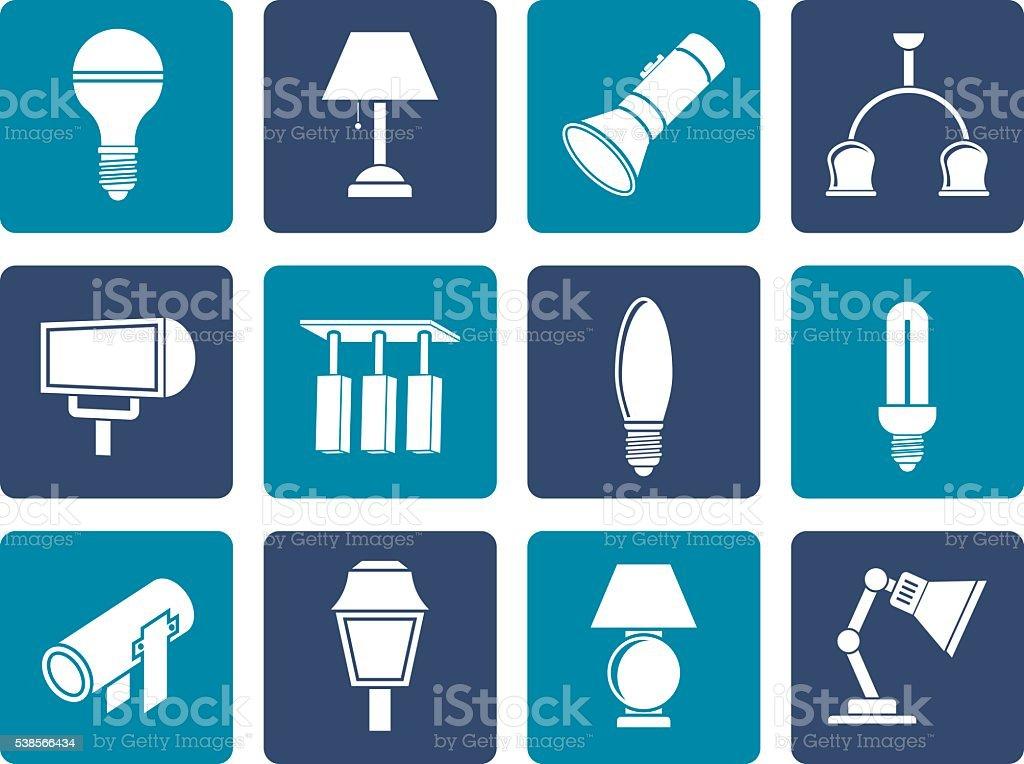 Flat different kind of lighting equipment vector art illustration