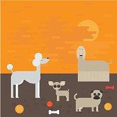 flat dog characters set