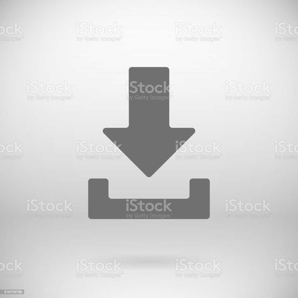 Flat Download Upload Icon Vector Load Symbol Button Background vector art illustration