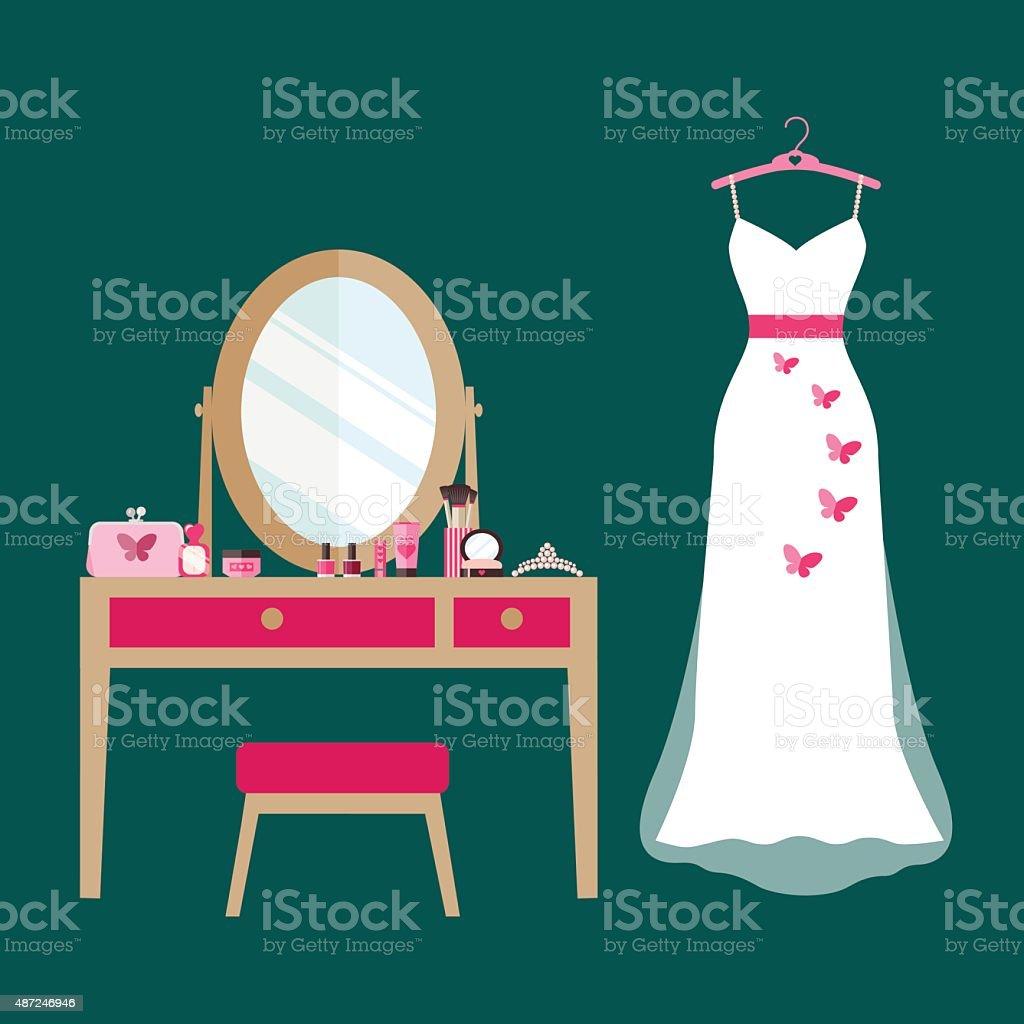 flat dressing table, cosmetics and wedding dress. vector illustration vector art illustration