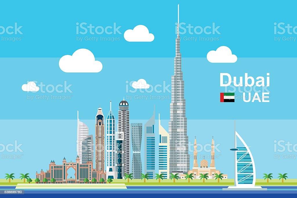 Flat Dubai Cityscape vector art illustration