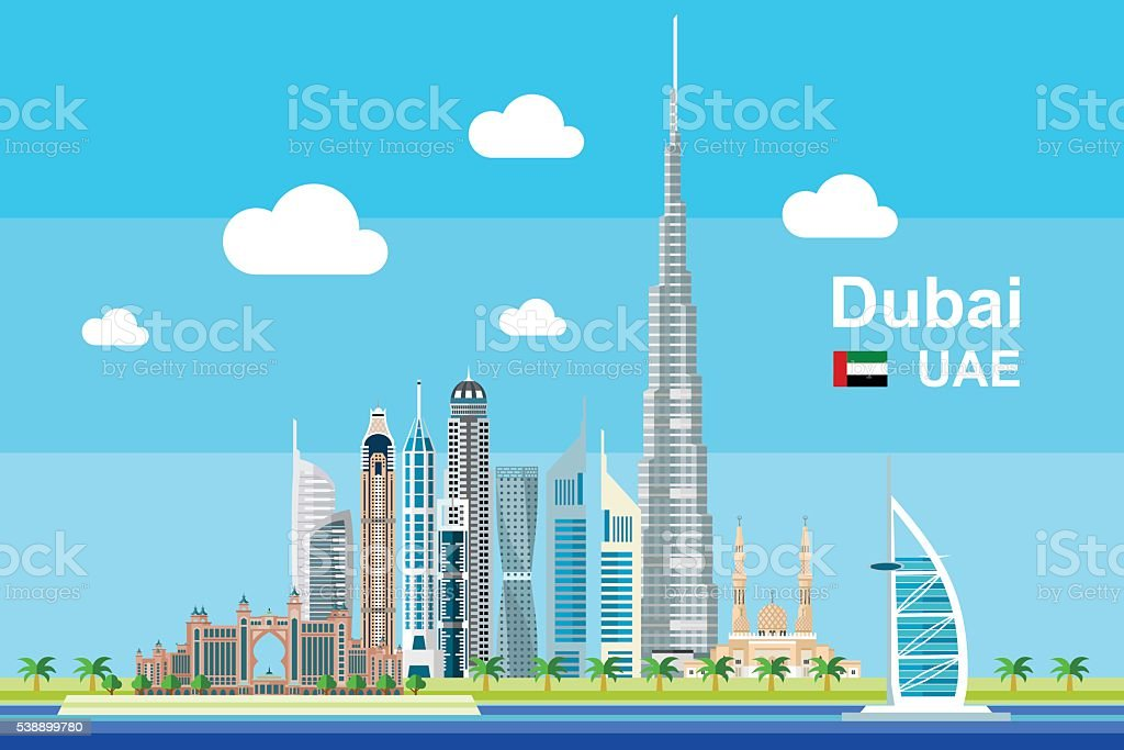 Flat Dubai Cityscape vector art illustration