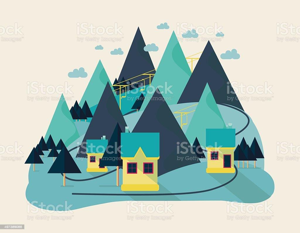 flat eco liner design, rural landscape for every season, business vector art illustration