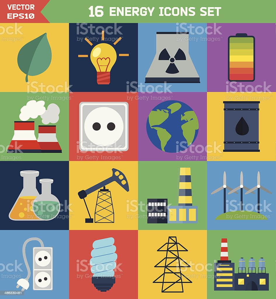 Flat ecology and energy vector icons royalty-free stock vector art