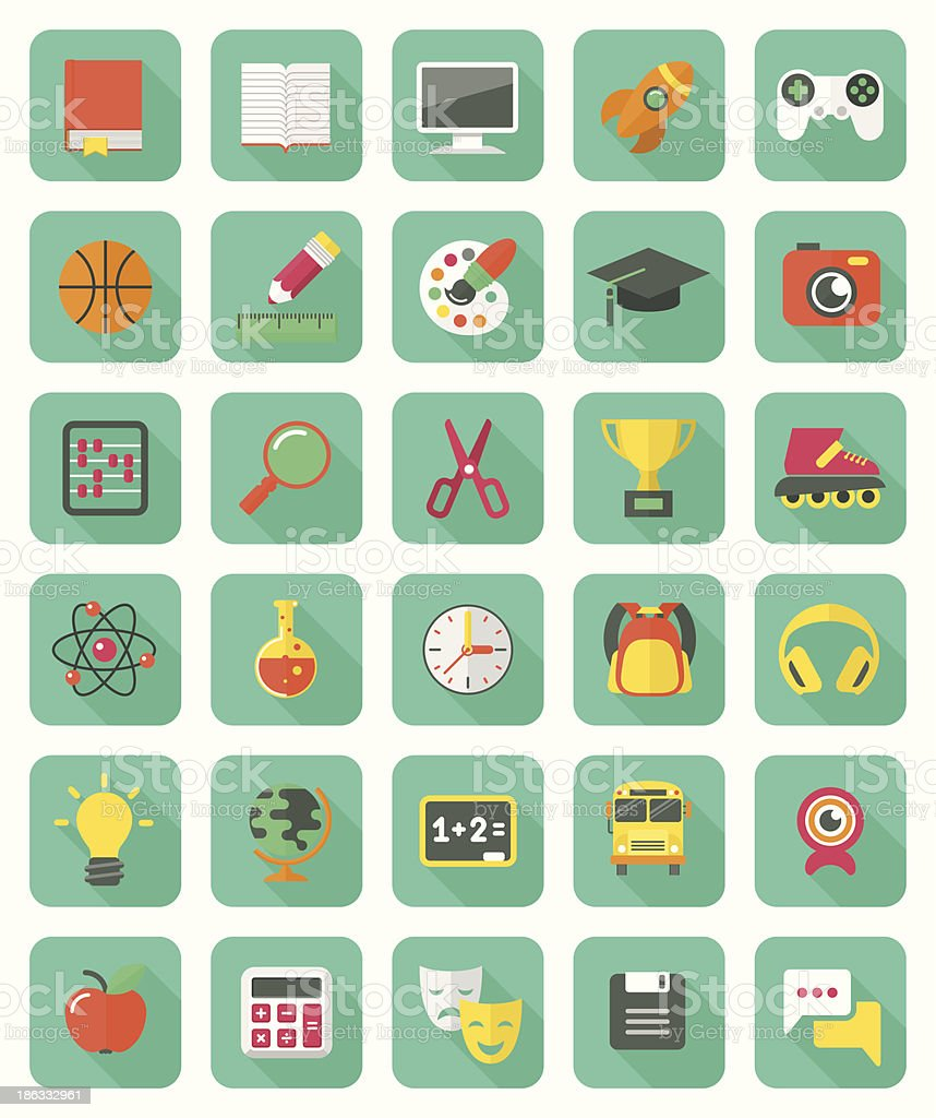 Flat Education and Leisure Icons Set vector art illustration