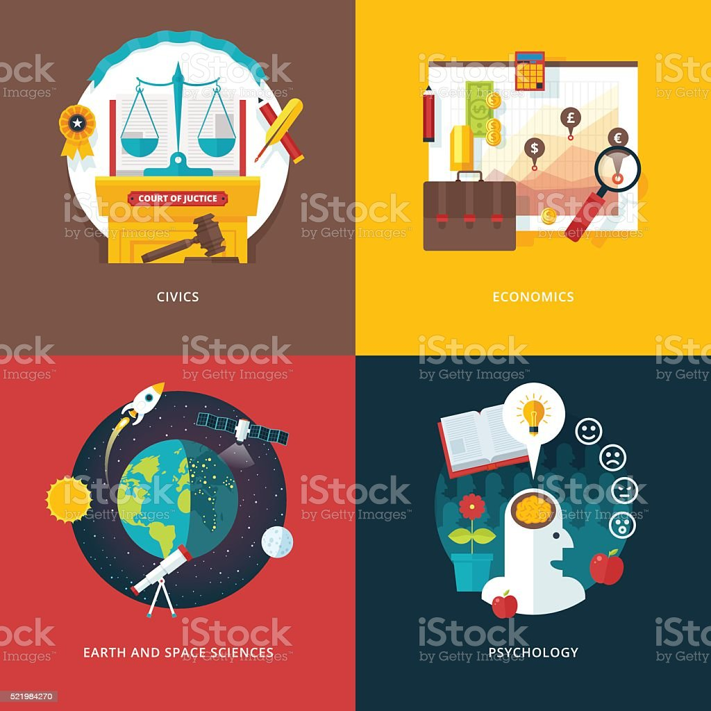 Flat education and science concept banners set. vector art illustration