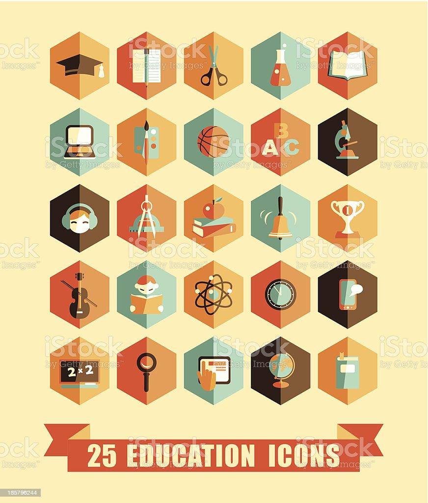 Flat education icons vector art illustration