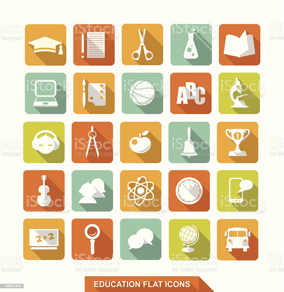 Flat education icons with shadow vector art illustration