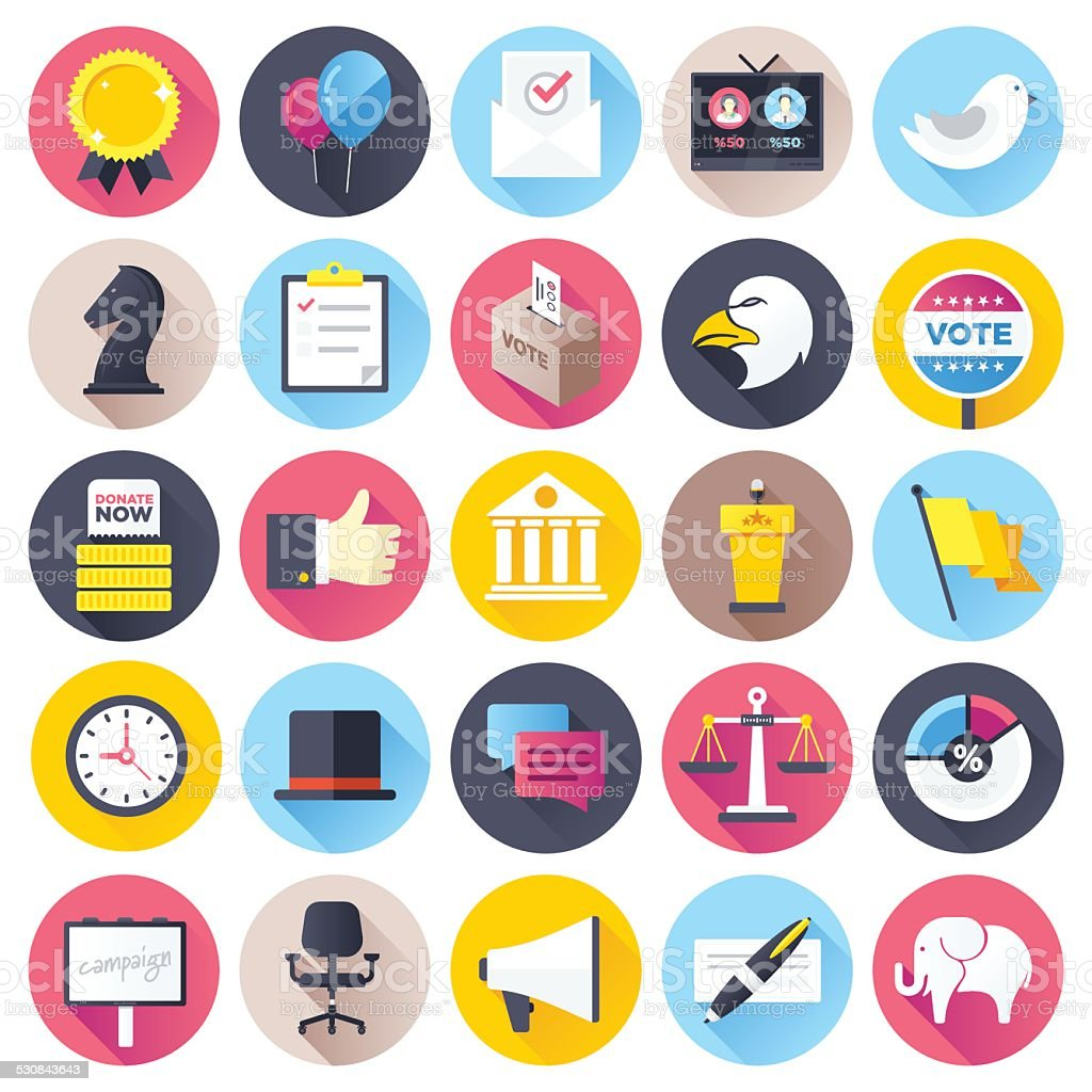 Flat Election Icons vector art illustration