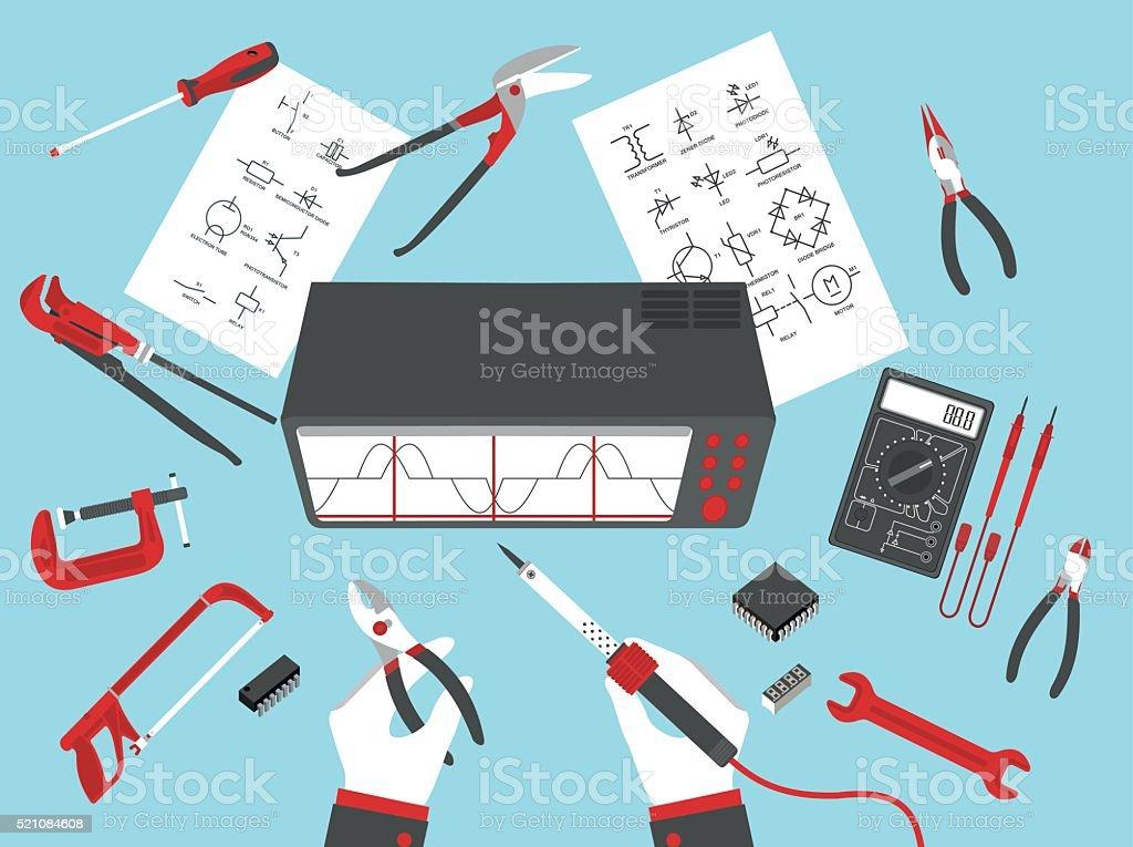 flat electronic repairs vector art illustration