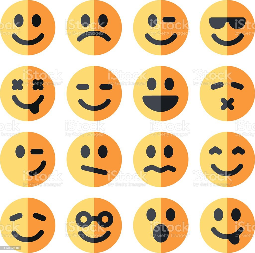 flat emotional emoji square faces icon vector art illustration