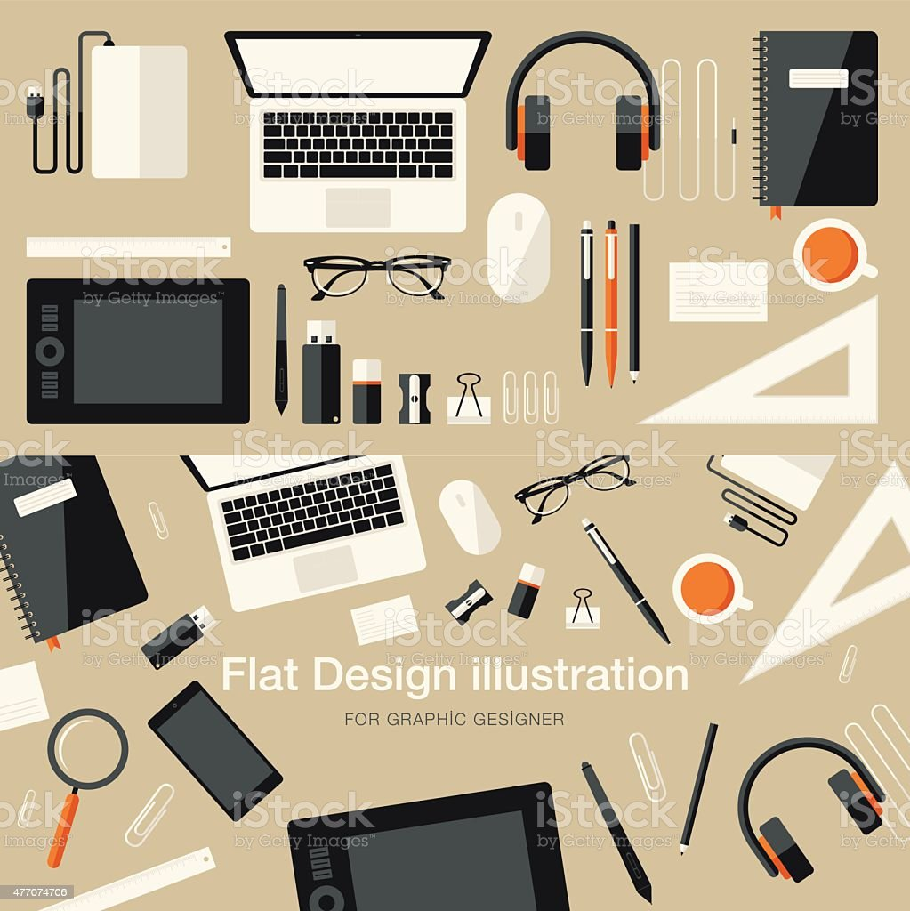 Flat Equipments For Graphic Designer vector art illustration